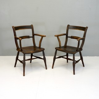 Pair of Antique Elm Elbow Chairs