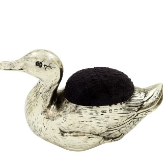 Large Antique Sterling Silver Duck Pin Cushion 1906