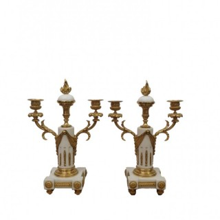 PAIR OF LATE 19TH CENTURY FRENCH MARBLE AND GILT BRONZE CANDELABRA