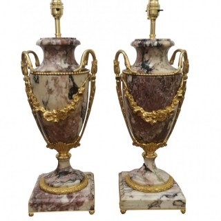 PAIR OF 19TH CENTURY FRENCH MARBLE AND GILT BRONZE TABLE LAMPS