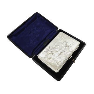 Antique Victorian Sterling Silver Card Case / Aide Memoire in Case 1897
