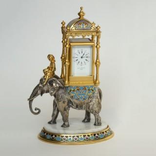 Elephant & Howdah Cloisonné enamel Carriage clock