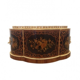 19TH CENTURY FRENCH MARQUETRY AND GILT BRONZE JARDINIERE