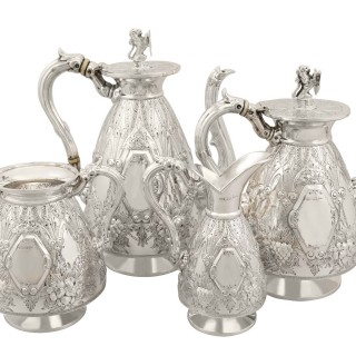 Sterling Silver Four Piece Tea and Coffee Service - Antique George V (1911)