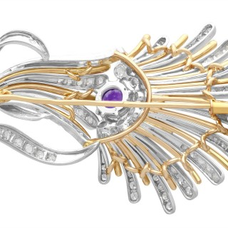 1.01ct Amethyst and 1.69ct Diamond, Platinum and 14ct Yellow Gold Brooch - Art Deco - Vintage Circa 1940