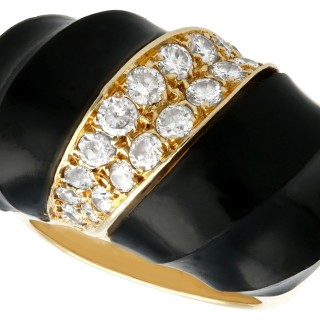 Onyx and 1.06 ct Diamond, 18 ct Yellow Gold Dress Ring - Vintage Circa 1960