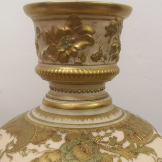 A PAIR OF 19TH CENTURY ROYAL CROWN DERBY VASES