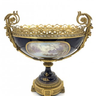 Massive Sevres Style Porcelain and Gilt Bronze Centrepiece