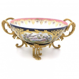 A fine French sevres style porcelain and gilt metal mounted twin-handled bowl