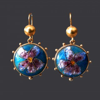 A pair of arts and crafts gold and enamel earrings by Alice Waymouth