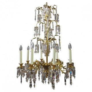 Edwardian Gilded and Glass Chandelier
