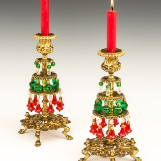 AN UNUSUAL PAIR OF VICTORIAN CHRISTMAS CANDLESTICKS