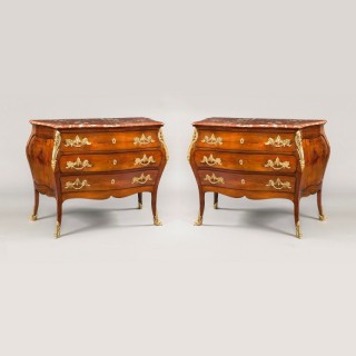A Pair of French Antique Mahogany & Ormolu Commodes