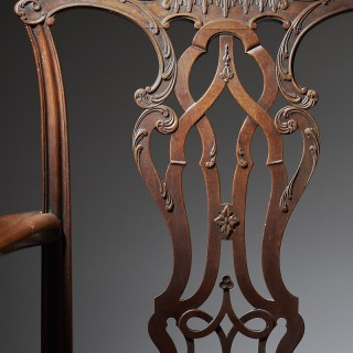 George III 18th Century Mahogany Armchair in the Manner of Thomas Chippendale