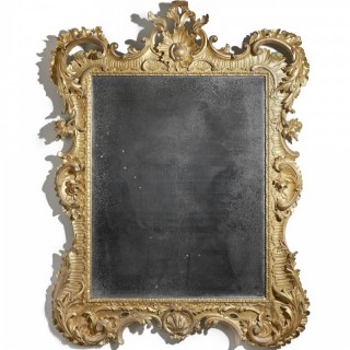 Large 18th Century Giltwood Rococo Mirror with Period Soft Bevelled Plate