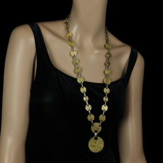 A Bold Gold Long Sautoir Necklace With Patterned Discs by Cartier c.1960s
