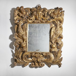 Powerful and Bold 17th Century Carved Baroque Giltwood Mirror