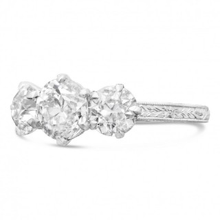 Hancocks 2.62 Carat Diamond Three-Stone Ring in Finely Hand Engraved Platinum