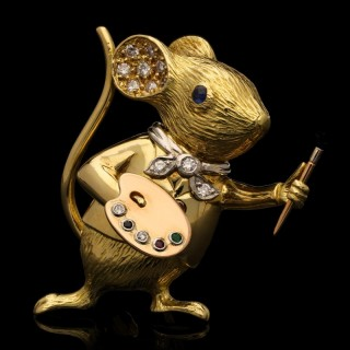 A Delightful Gold and Gem Set Artist Mouse Brooch by E Wolfe
