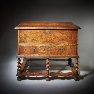A 17th Century William and Mary Olive Oyster Chest on Stand or Table Box