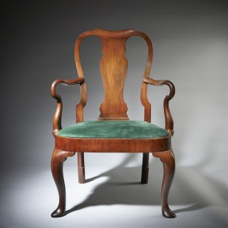 Rare 18th Century George II Mahogany Armchair with Carved Shepherds Crook Arms
