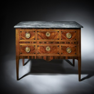 A Fine 18th Century Italian Walnut and  Parquetry Marble Topped Commode
