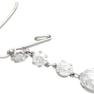 5.80ct Diamond and Platinum Drop Earrings - Antique Circa 1920