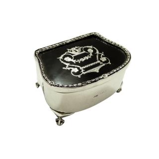 Antique Edwardian Sterling Silver & Tortoiseshell Trinket Box 1906