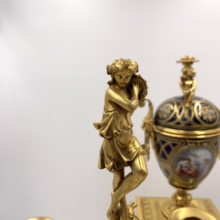 bejewelled 19th century sevres style clock set