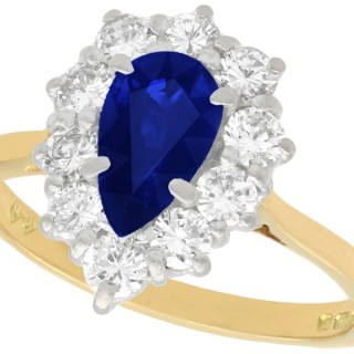 1.40ct Sapphire and 0.68ct Diamond, 18ct Yellow Gold Cluster Ring - Vintage 1976