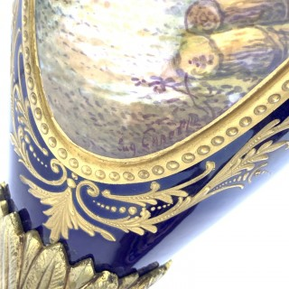 19th century Pair of Blue Sevres Style Vases