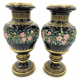 Opaline glass with floral design vases
