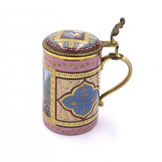19th Century Pink Royal Vienna Tankard With Lid