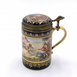 19th Century Blue Vienna Tankard With Lid