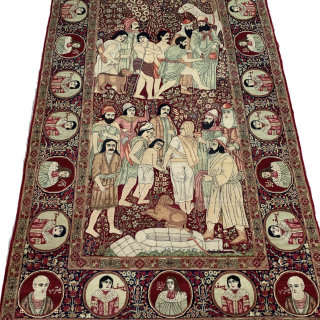 Antique Pictorial Kerman Raver RUG 230 x 140 cm