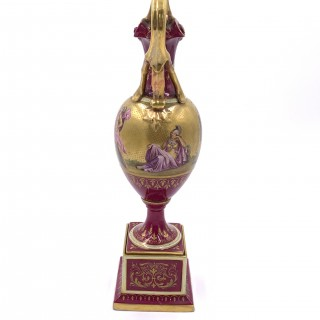 19th century royal Vienna porcelain ewer on stand