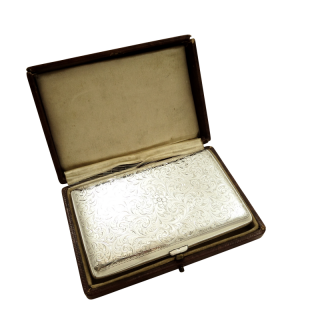 Antique Sterling Silver Cigar Case in Case 1911
