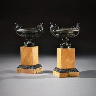Pair Of Early 19th C Grand Tour Bronze And Sienna Marble Tazzas