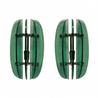 A PAIR OF GREEN GLASS WALL LIGHTS BY VECA