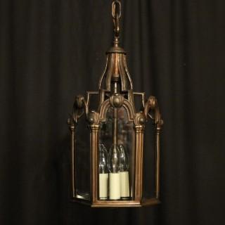 French Bronze Triple Light Antique Hall Lantern