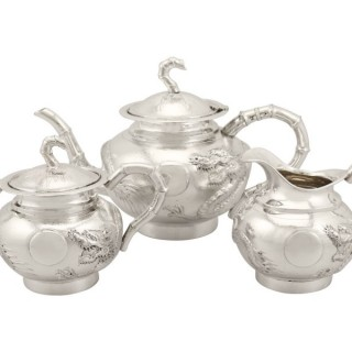 Chinese Export Silver Three Piece Tea Service - Antique Circa 1900