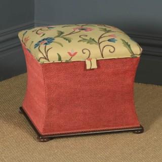 Antique English Victorian Mahogany & Crewel Work Upholstered Concave Ottoman Box Stool Trunk (Circa 1870)