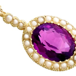 6.56 ct Amethyst and Pearl, 15 ct Yellow Gold Pendant - Antique Circa 1890