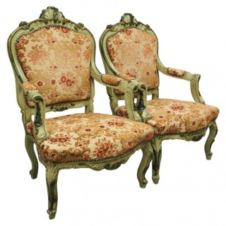 Pair of Italian Carved and Painted Armchairs