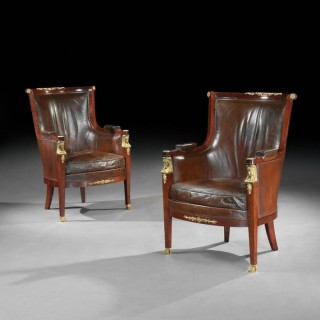 Pair Of 19th Century Gilt Bronze Mounted Moroccan Leathered Armchairs, Maison Lalande