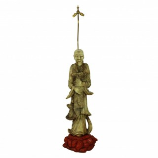 A CHINESE MARBLE FLOOR LAMP