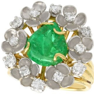 2.42 ct Emerald and 0.95 ct Diamond, 18 ct Yellow Gold Dress Ring - Antique Circa 1920