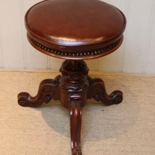 Late Victorian Walnut Adjustable Piano Stool
