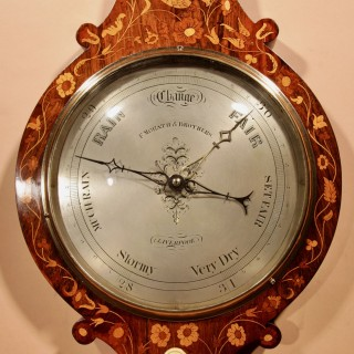 A Very Rare Victorian Rosewood Inlaid Barometer.