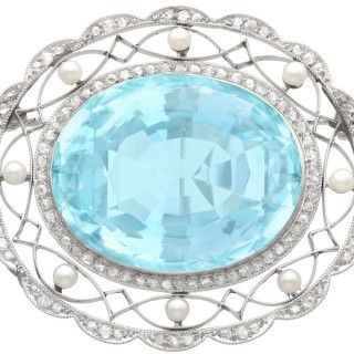 43.84 ct Aquamarine, 0.85 ct Diamond and Pearl, Platinum Brooch - Antique Circa 1910